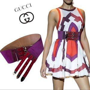 Authentic Gucci Leather Belt 3 Buckle Closure